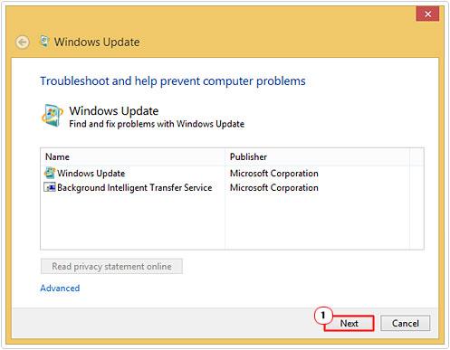Windows Update -> Next