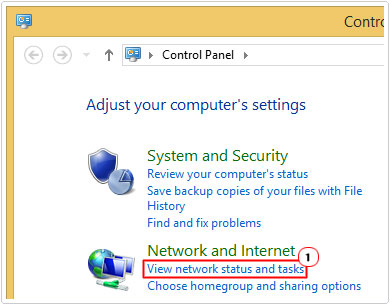 Click on View network status and tasks