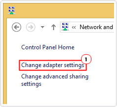 Click on Change adaptor settings