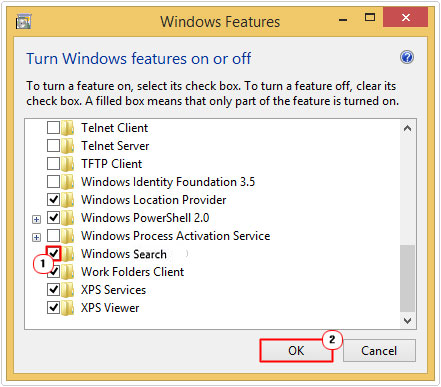 Check box next to Windows Search