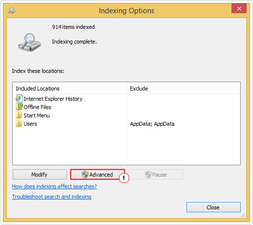 Repairing Windows Search Indexer Problems