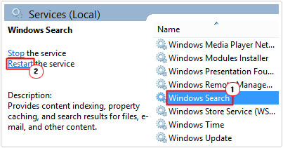 Windows Search -> Restart