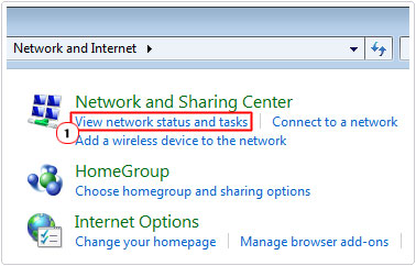 Network and internet -> View network status and tasks