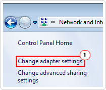 Network sharing center -> Change Adapter Settings