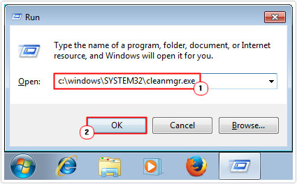 run -> type c:\windows\SYSTEM32\cleanmgr.exe
