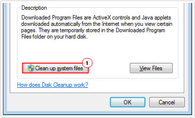 Disk cleanup -> Clean up system files