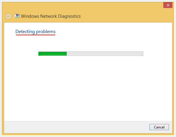 Windows Network Diagnostic -> Detecting problems