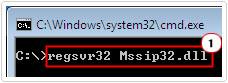 cmd -> type regsvr32 Mssip32.dll