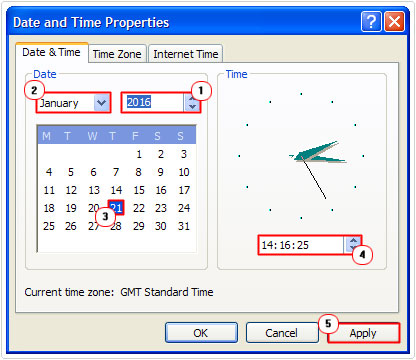 Date and Time Properties -> Set Time and Date