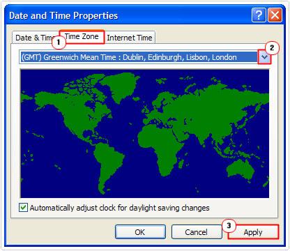 Time Zone -> Time Zone -> OK