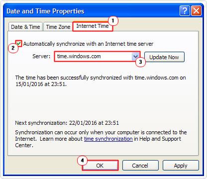 Internet Time -> Server -> OK