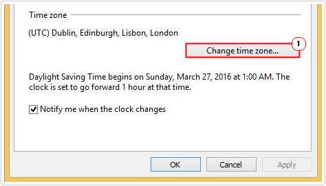 time zone -> Change time zone