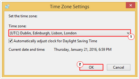 Change time zone settings -> OK