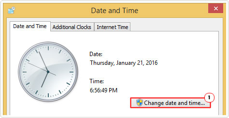 Date and time -> change date and time