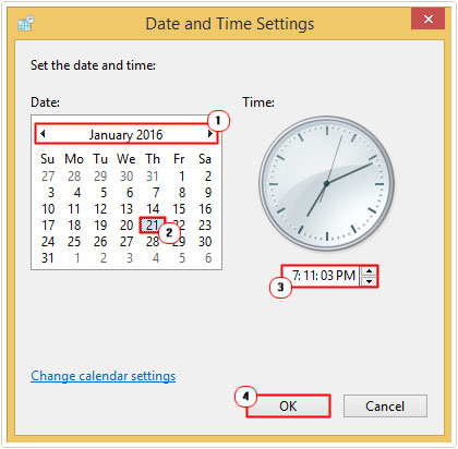 change date and time -> OK