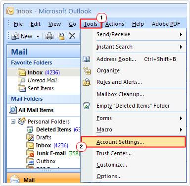 Tools -> Account Settings