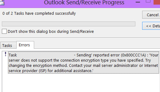 Repairing Outlook Error 0x800ccc1a