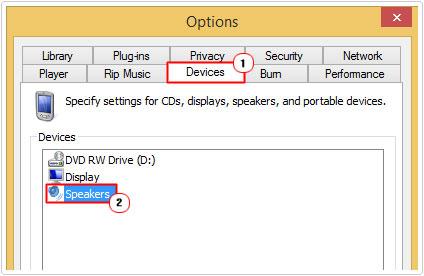 Device Tab -> Speakers