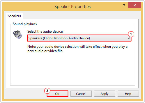 Speakers -> Audio Device -> OK
