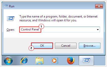 Run -> Control Panel