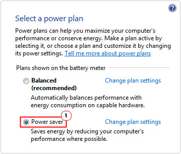 Power Plan -> Power Saver