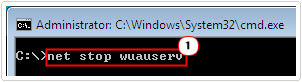 cmd -> net stop wuauserv