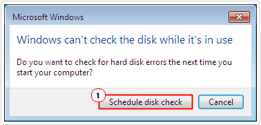 check disk -> Schedule disk check