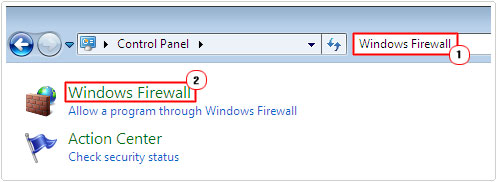control panel -> windows firewall