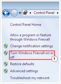 click on turn off windows firewall on or off