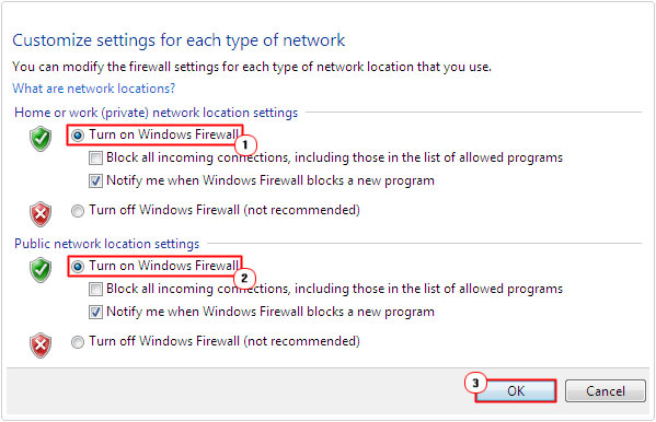 turn off windows firewall for private and public location settings