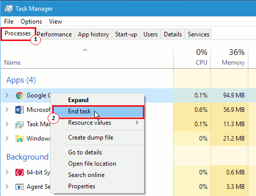 task manager -> processes -> end task
