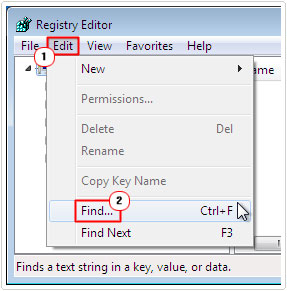 Registry editor -> edit -> find