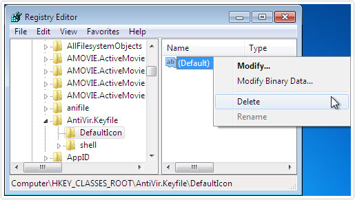 Delete Avira Registry key