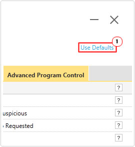 Settings -> Use Defaults