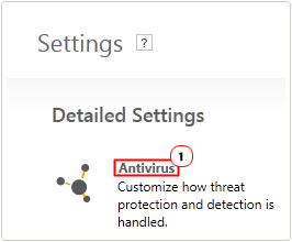 settings -> antivirus