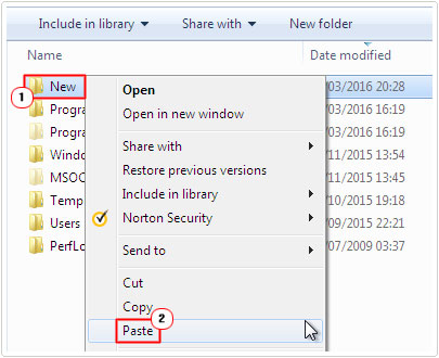 paste user folders into new folder