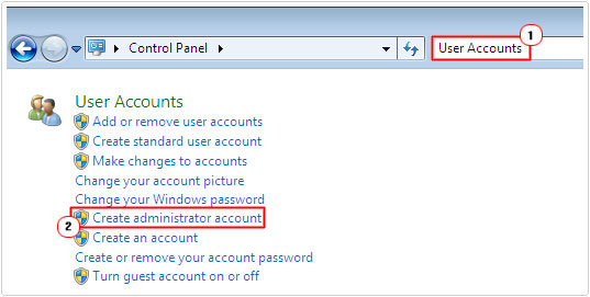 control panel -> Create administrator account