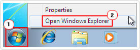 start -> open windows explorer