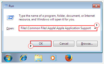 run -> C:\Program Files\Common Files\Apple\Apple Application Support
