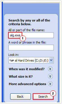 all or part of the file name -> alg.exe -> search