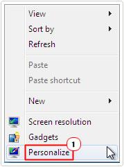 Desktop -> Personalize