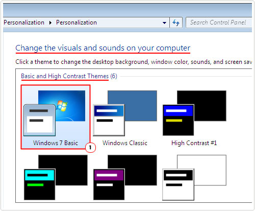 personalize -> Windows 7 Basic