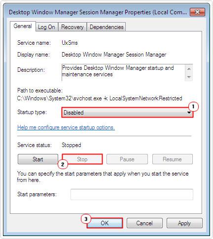 desktop window manager session manager service problem