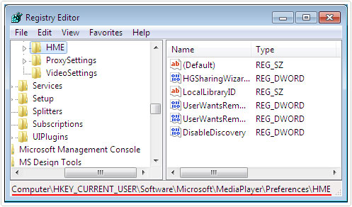 visit registry path HKEY_CURRENT_USER\Software\Microsoft\MediaPlayer\Preferences\HME