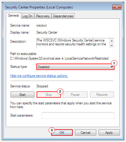 set Security Center Properties to disabled