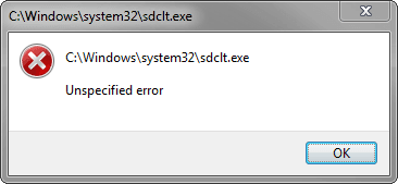 sdclt.exe System32 error message