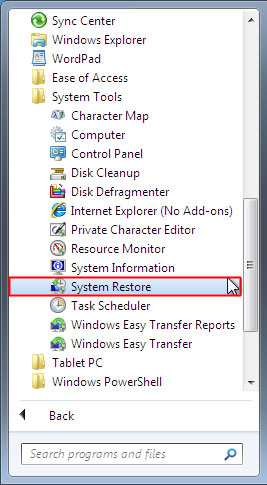start -> accessories -> system tools -> system restore