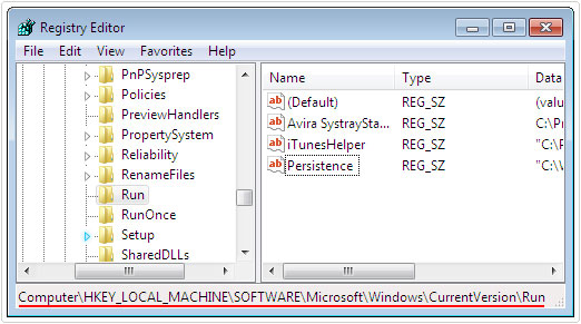 navigate to: HKEY_LOCAL_MACHINE\SOFTWARE\Microsoft\Windows\CurrentVersion\Run