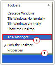 Taskbar -> Task Manager