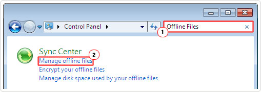search for offline files -> click on Manage offline files